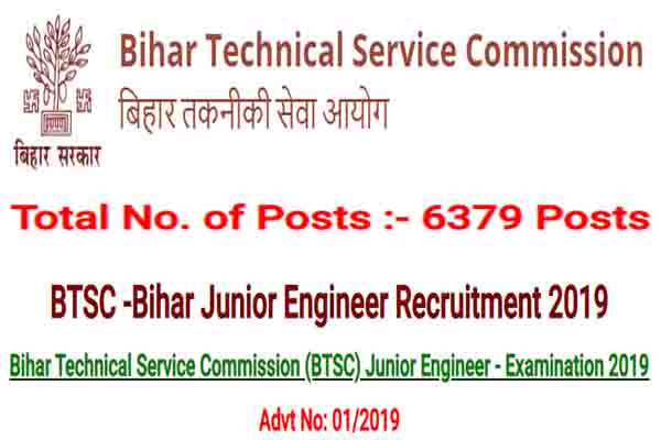 BTSC Recruitment 2019 - 6379 Junior Engineer Posts