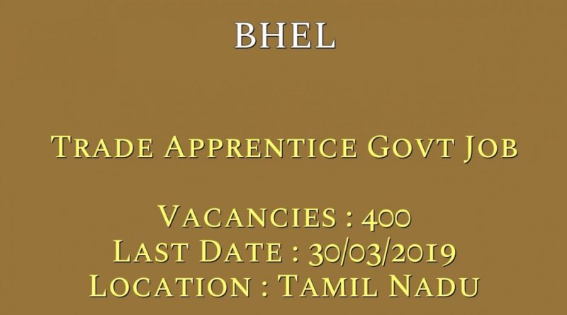 Bharat Heavy Electricians Limited (BHEL) - 400 Trade Apprentice Vacancy