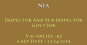 NIA Recruitment For for 62 Inspector and Sub Inspector Posts