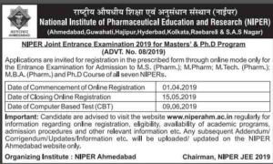 NIPER Joint Entrance Examination(JEE) 2019 Adverisment