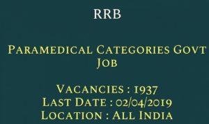 RRB Recruitment – 1937 Various Paramedical Vacancy
