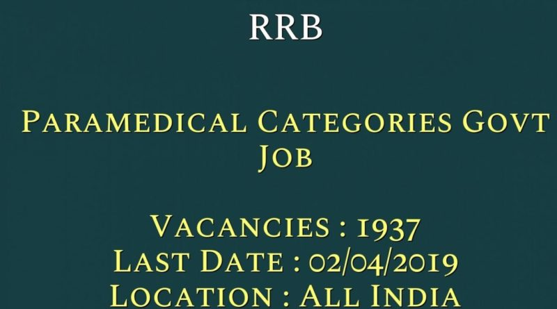 RRB Recruitment – 1937 Various Paramedical Vacancy