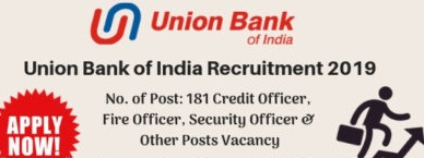 Union Bank of India Recruitment 2019 - 181 Officer Post